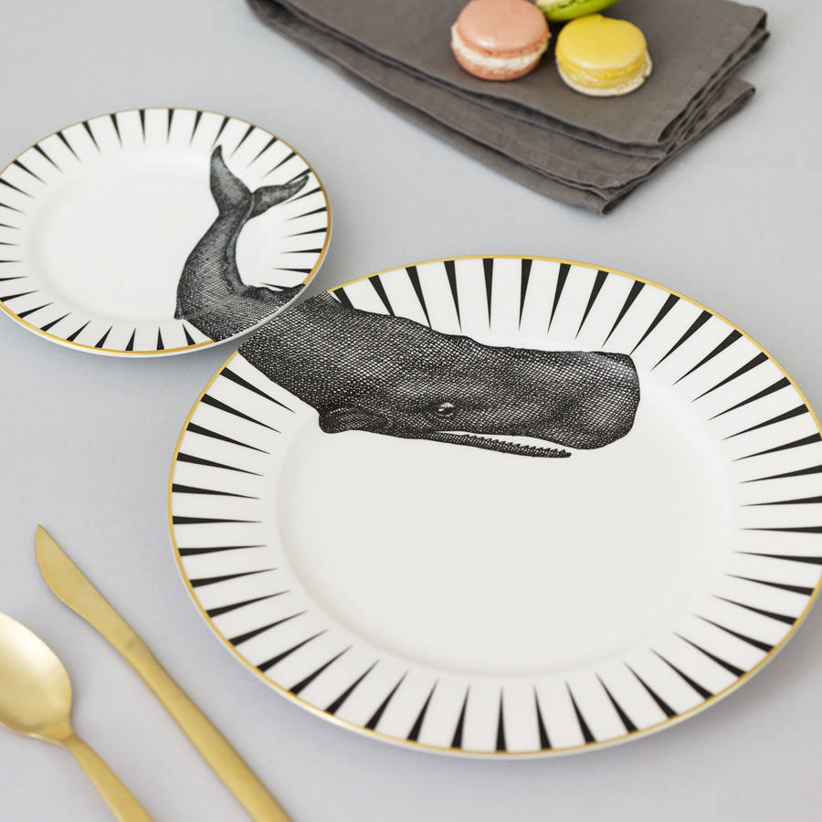 Monochrome 'Whale of a Time' Plate Set