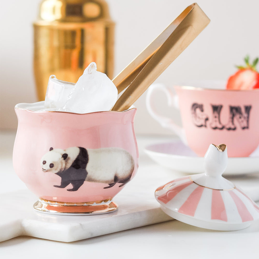 Panda Sugar Bowl with ice and tongs