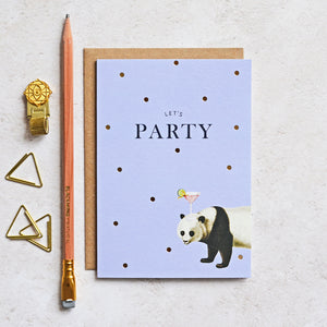 Let's Party Panda Birthday Greeting Card
