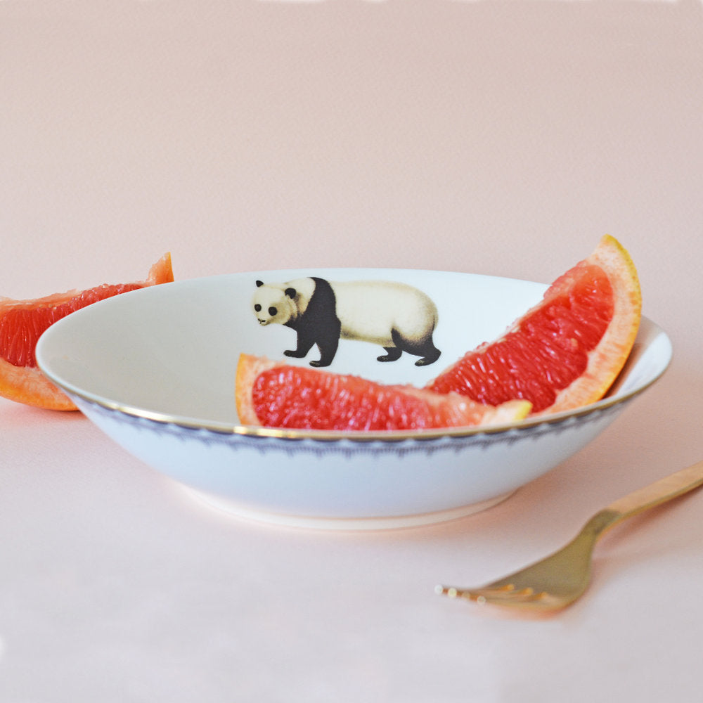 Load image into Gallery viewer, Panda Pasta Bowl with grapefruit pieces
