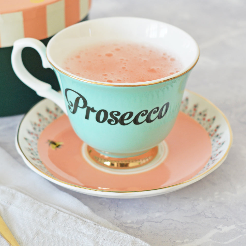 Load image into Gallery viewer, Pastel Prosecco Tea Cup & Saucer
