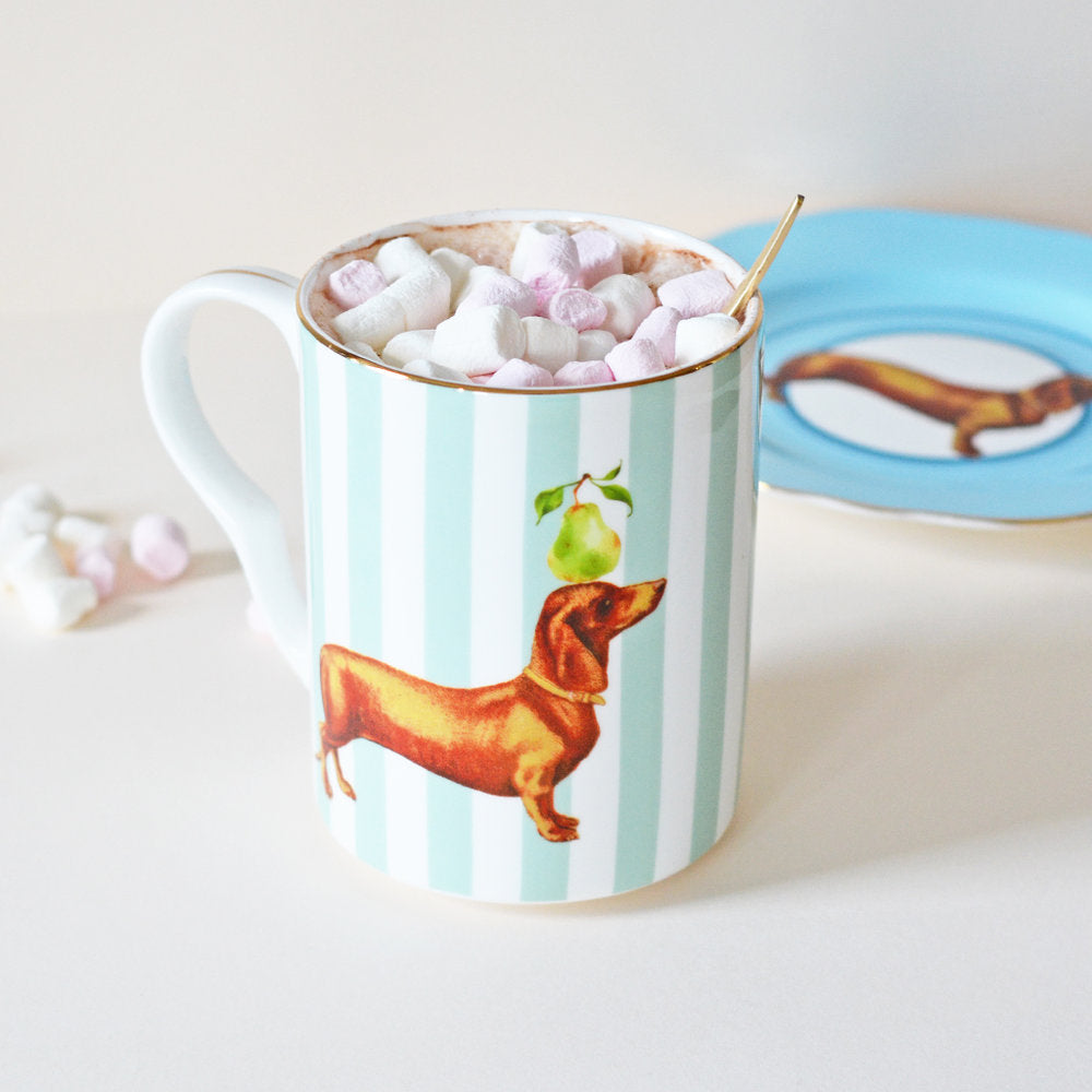 Load image into Gallery viewer, Sausage Doggie Mug with hot chocolate