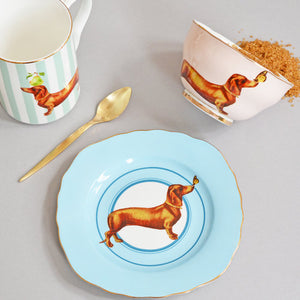 Sausage dog tea plate, mug and bowl