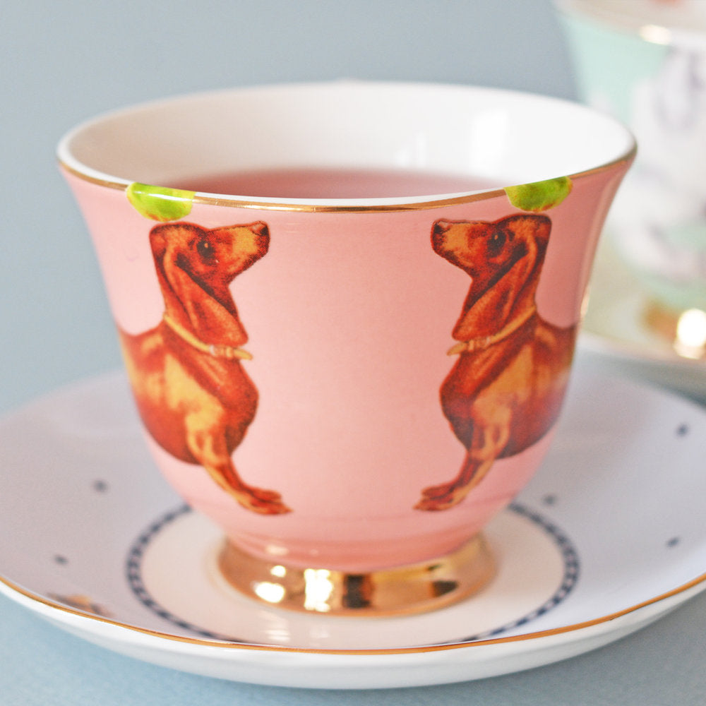 Load image into Gallery viewer, Sausage dog tea cup and saucer