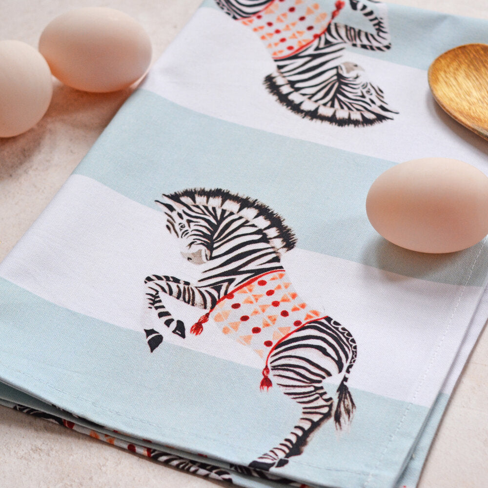 Load image into Gallery viewer, Zebra tea towel with eggs