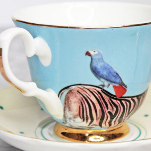 Zebra and Parrot Teacup and Saucer