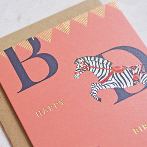 Load image into Gallery viewer, Happy Birthday Zebra Greeting Card