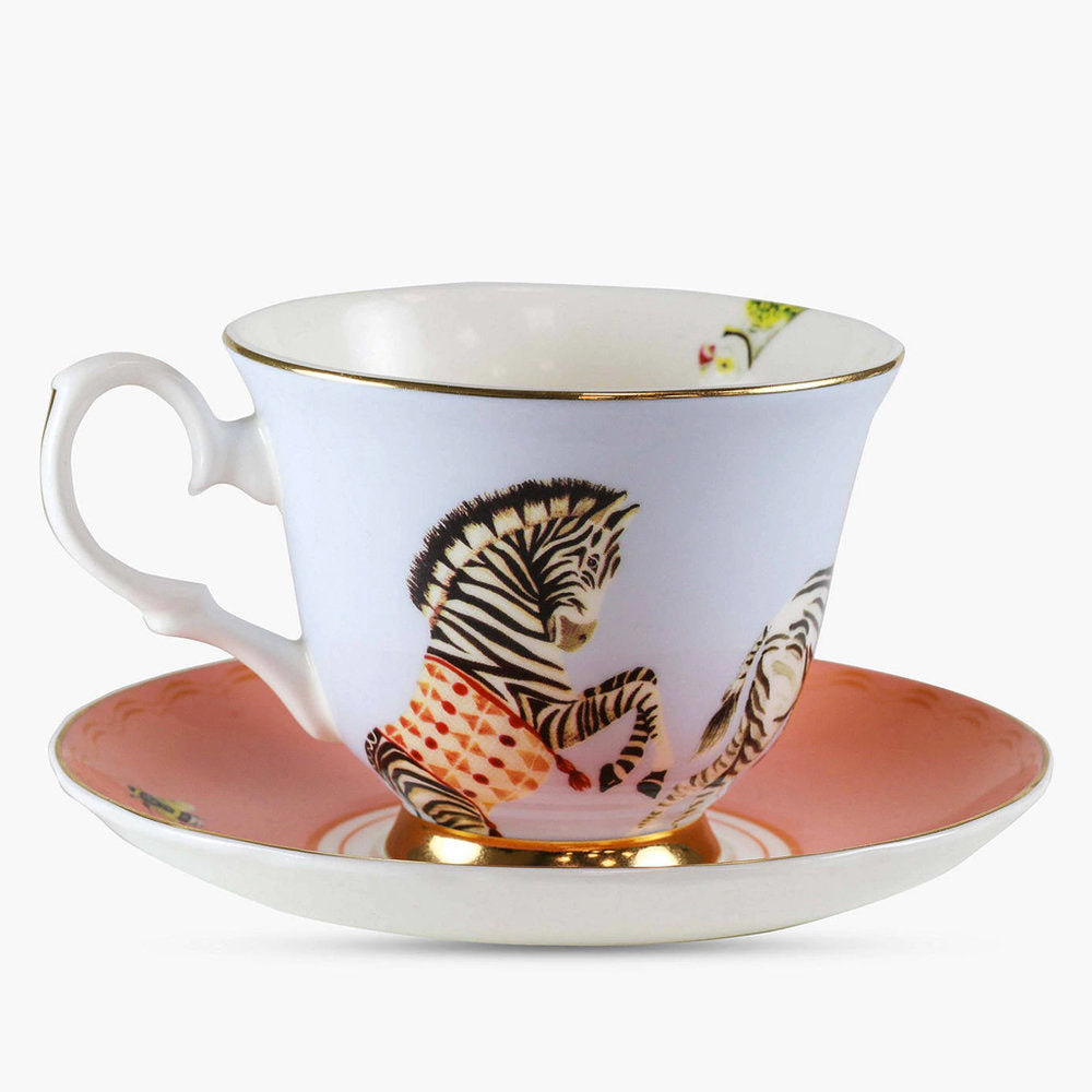 Carnival Zebras Teacup and Saucer