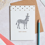 Mono Party Animal Zebra Greeting Card