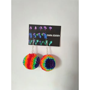 Rainbow PomPom Earrings