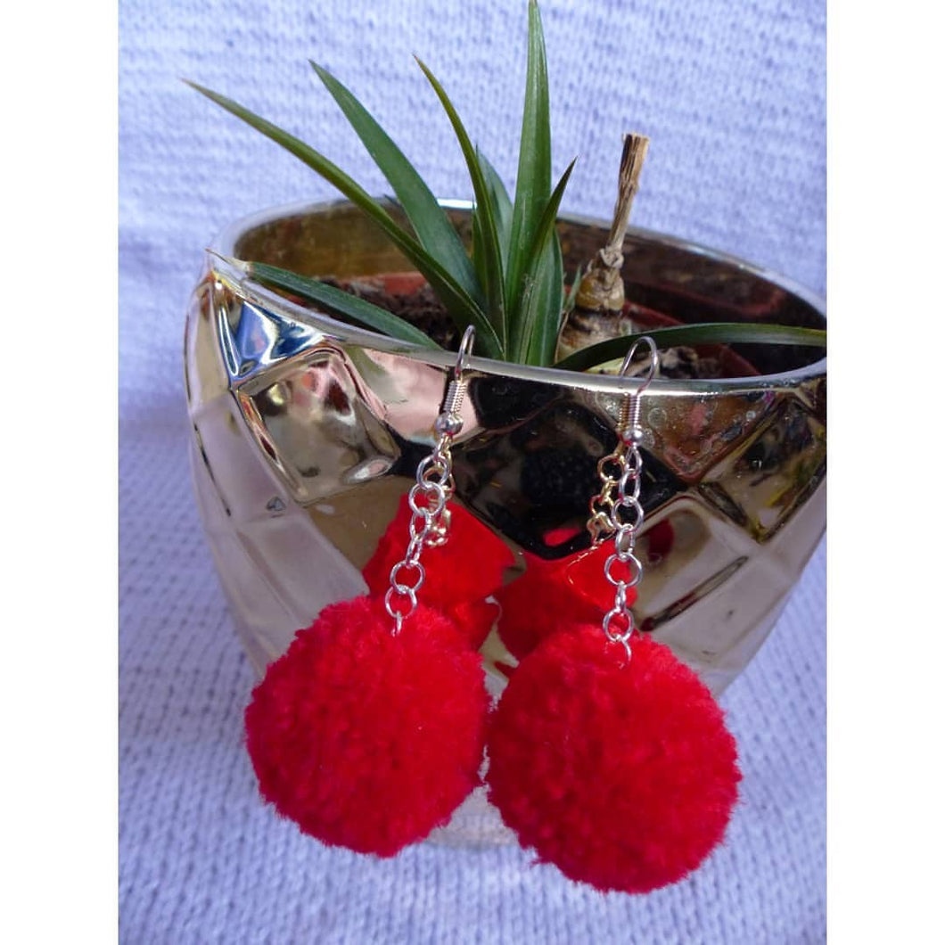 Red PomPom Earrings