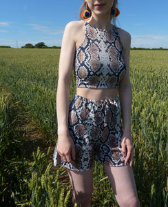 Snakey Co-ord crop top