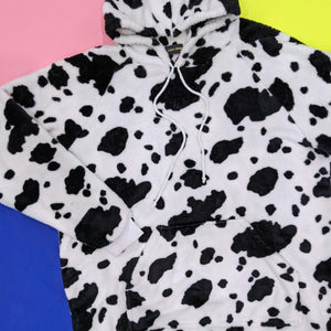 Fluffy Cow Print Hoodie