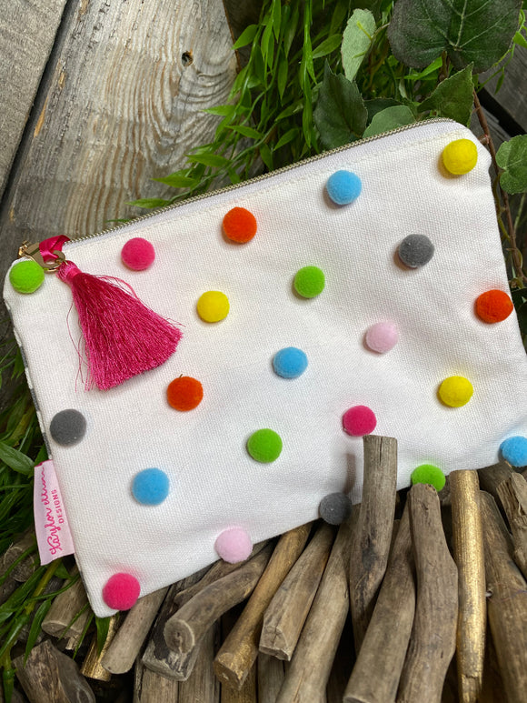 Self Care - Zippered Bag in White with Polka Dots