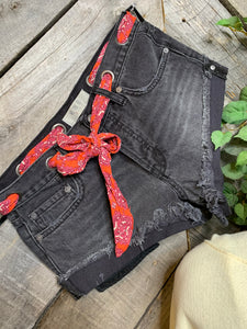 Free People - Black Denim Short with Red Ribbon