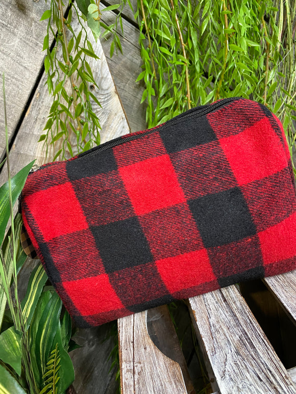 Self Care - Toiletry Bag in Red/Black Plaid