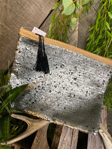 Self Care - Indaba Toiletry Bag in Grey Sequin