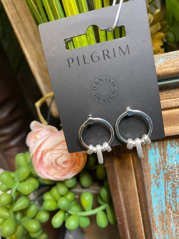 Pilgrim - Small Ovals on Hoops Earrings in Silver
