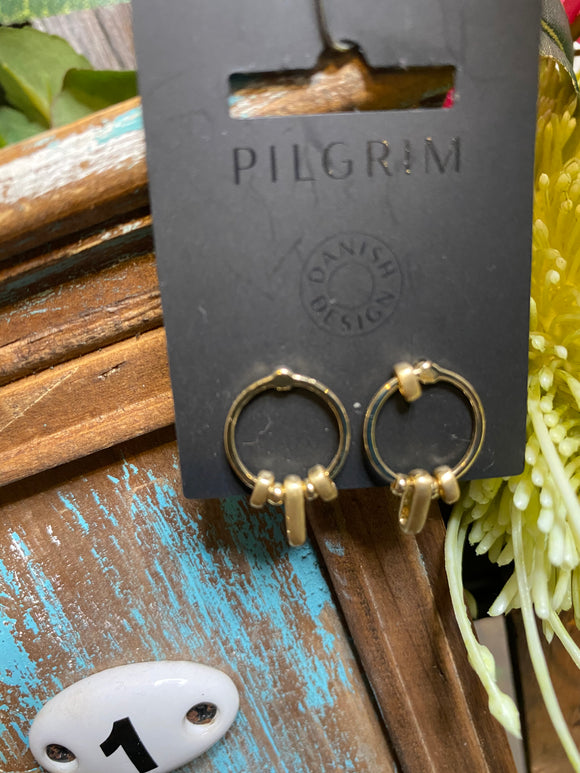 Pilgrim - Small Oval on Hoops Earrings in Gold
