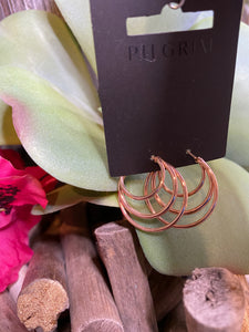 Jewelry - Pilgrim - Triple Hoop Earring in Rose Gold