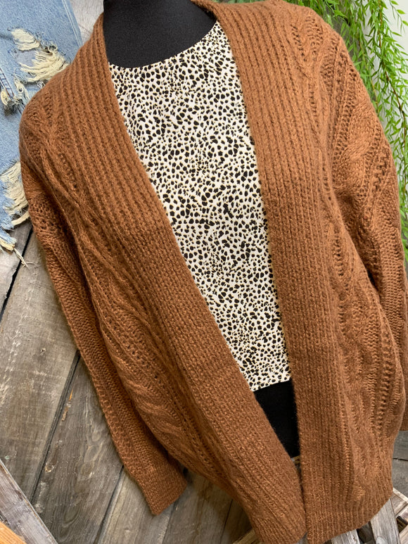 C'est Moi - Light Brown Braid Knit Cardigan