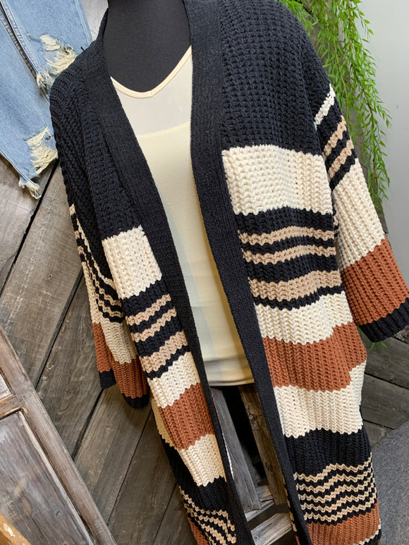 By Together - Chunky Brown/Black & Cream Knit Cardigan