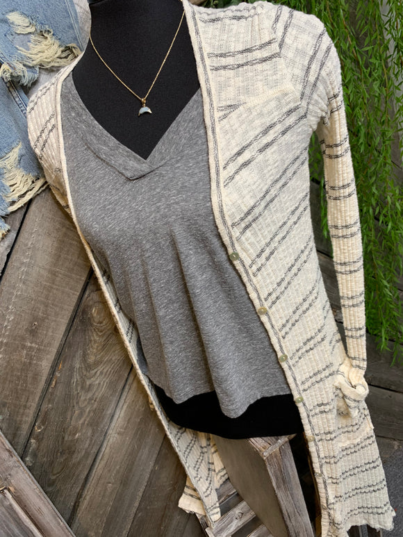 By Together - Cream & Black Striped Cardigan