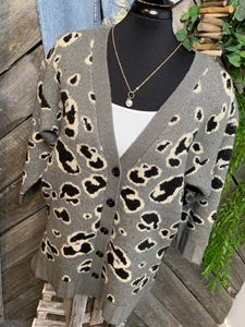 By Together - Green/Grey Animal Print Cardigan