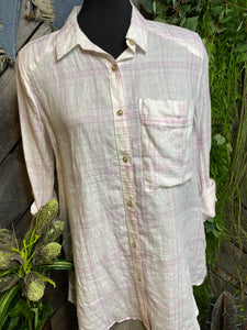Blowout Sale - FP Plaid Shirt in Pink & White