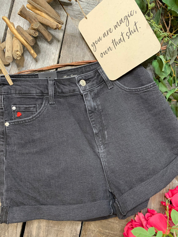 Mavi - Black Denim Short with Red Heart