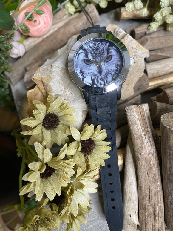 Jewelry - Watches - Pilgrim Owl Face Watch with Black Band
