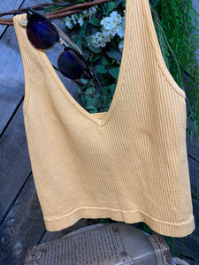 Free People - Sacred Yellow Ribbed Tank