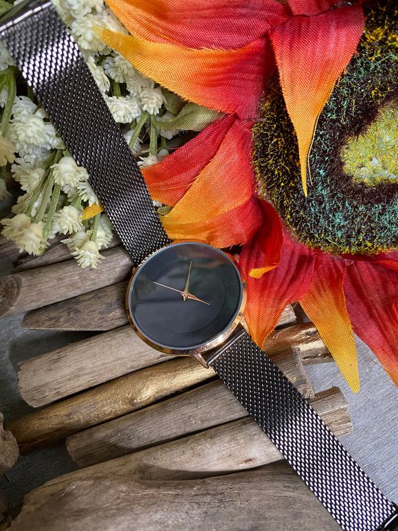 Jewelry - Watches - Large Black Face Metal Strap