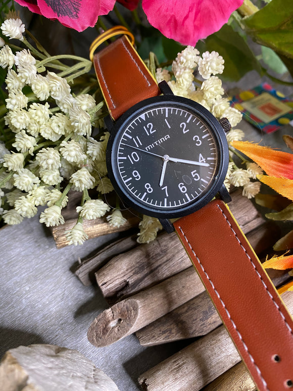 Jewelry - Watches - Large Black Watch Face Brown Strap
