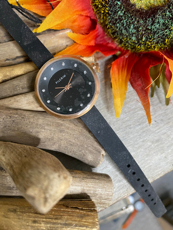 Jewelry - Watches - Pilgrim Black Face Watch with Black Strap