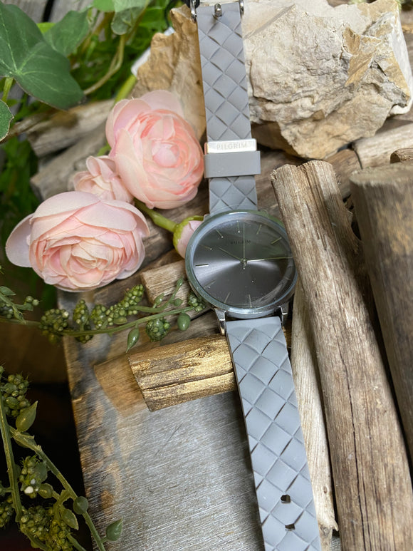 Jewelry - Watches - Pilgrim Silver Face Grey Strap