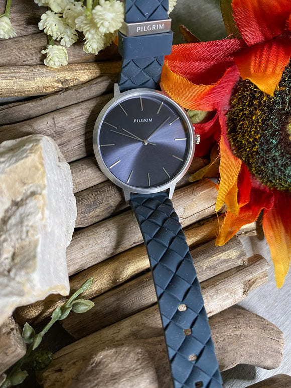 Jewelry - Watches - Pilgrim Black Face Charcoal Strap