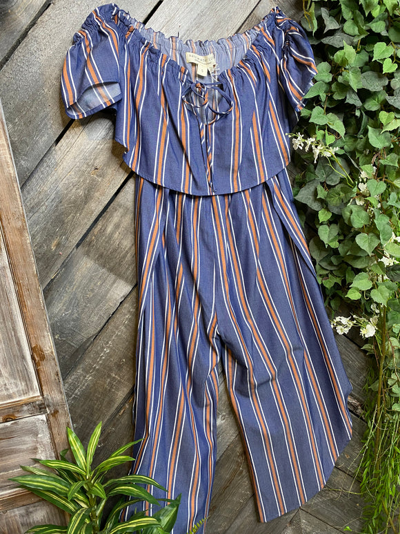 Saltwater Luxe - Blue/Orange Stripe Jumpsuit