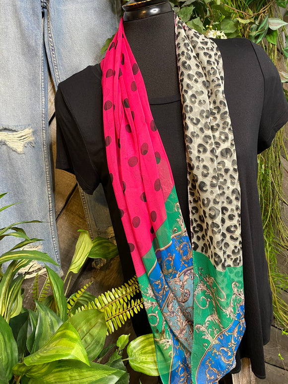 Scarf - Infiniti Pink with Black Polka Dots