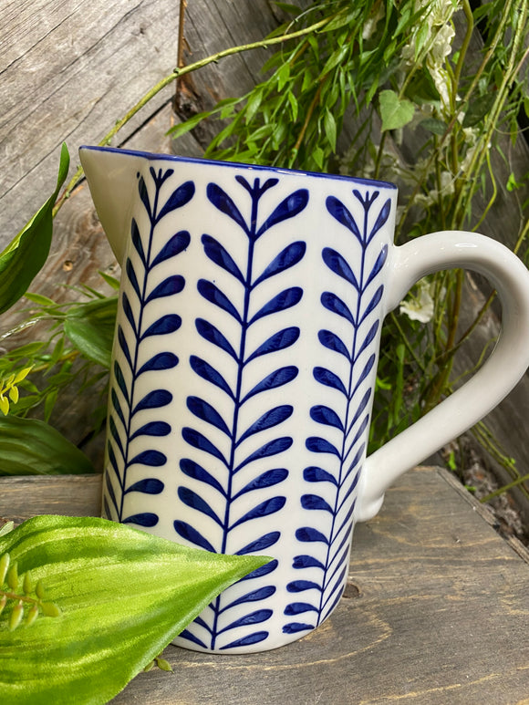Giftware - Blue Leaf Print Pitcher
