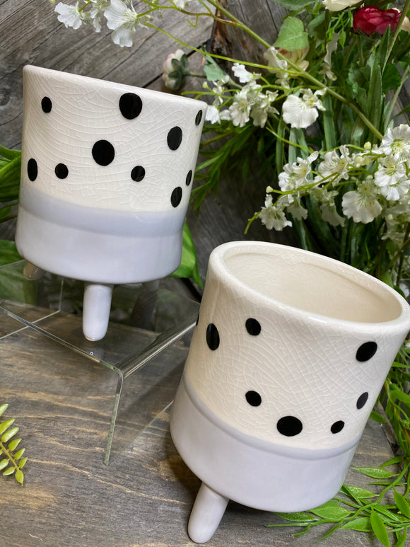 Giftware - Grey/White Polka Dot Planter