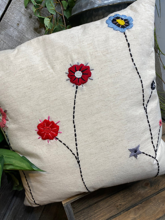 Giftware - Off White Pillow with Flowers