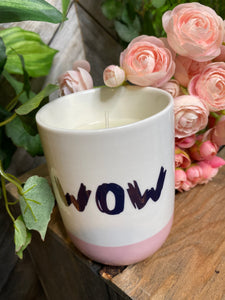 "Giftware - Pink/White ""WOW"" Candle"