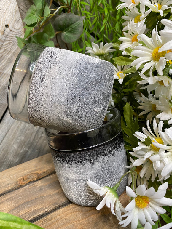 Giftware - Clear Vase with Purple/Grey Inside