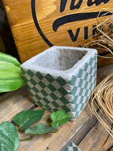 Giftware - Small Green/White Square Diamond Planter