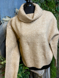 Blowout Sale - CM Turtle Neck Sweater in Tan
