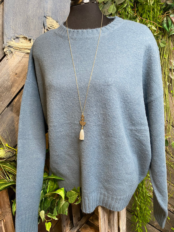 Blowout Sale - CM Knit Sweater in Pale Blue