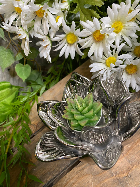 Giftware - Silver Flower Candle Holder