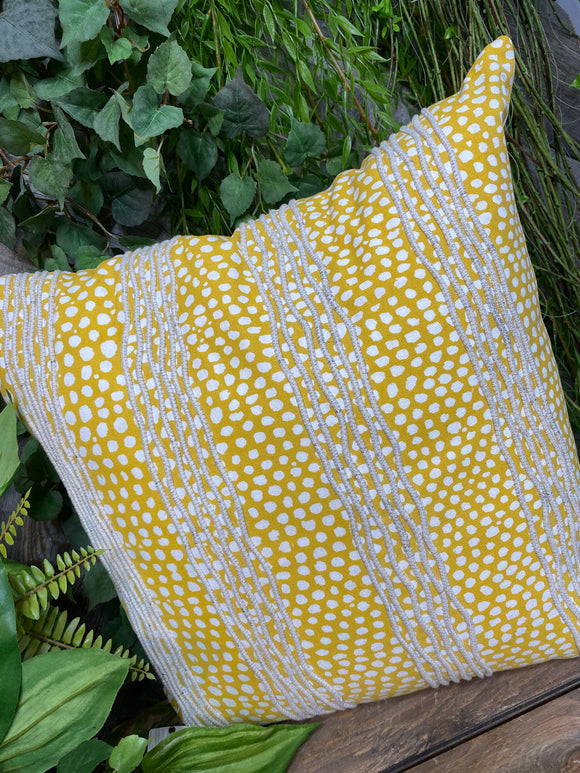 Giftware - White/Yellow Polka Dot Pillow