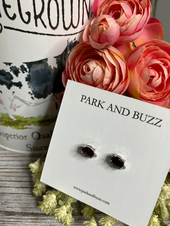 Blowout Sale - Park and Buzz Black/White Stone Earrings